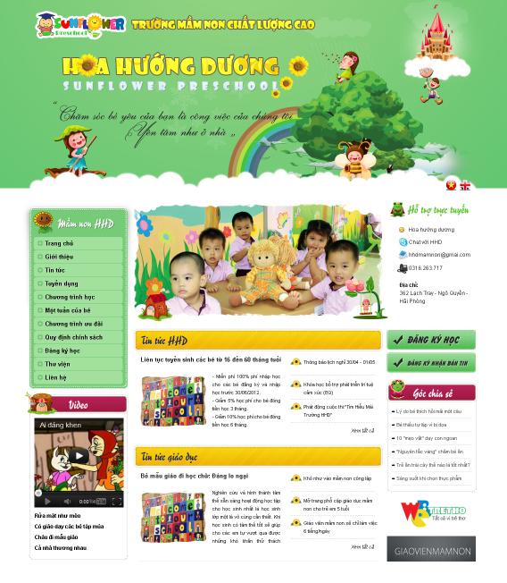 dự án thiết kế website trường mầm non
