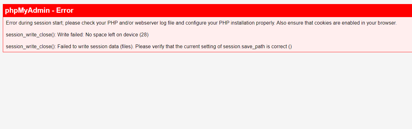 phpMyAdmin - Error