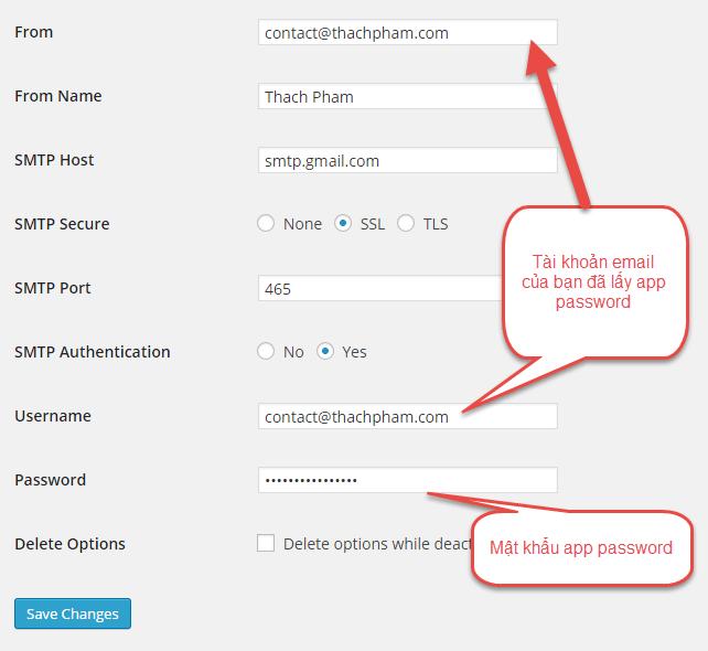 cấu hình plugin smtp wordpress