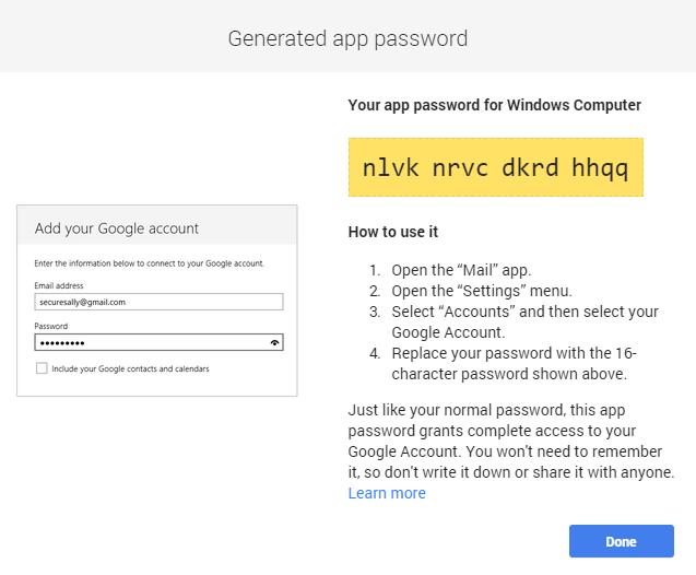 mật khẩu ứng dụng gmail