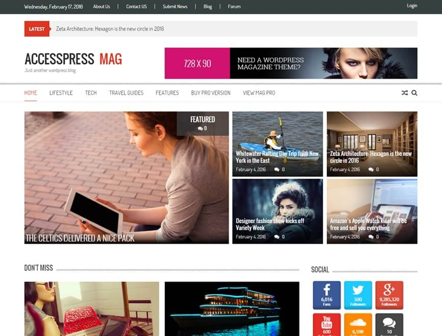 Theme WordPress Tin Tức AccessPress Mag