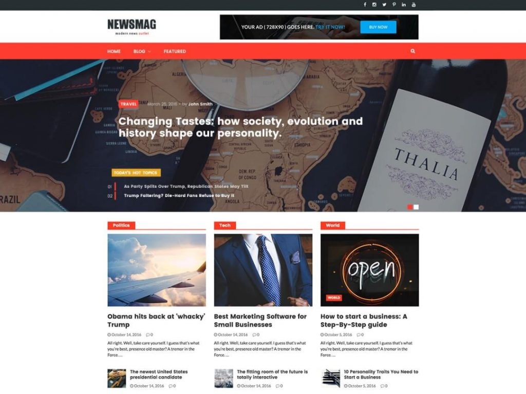 Theme WordPress Tin Tức Newsmag Lite