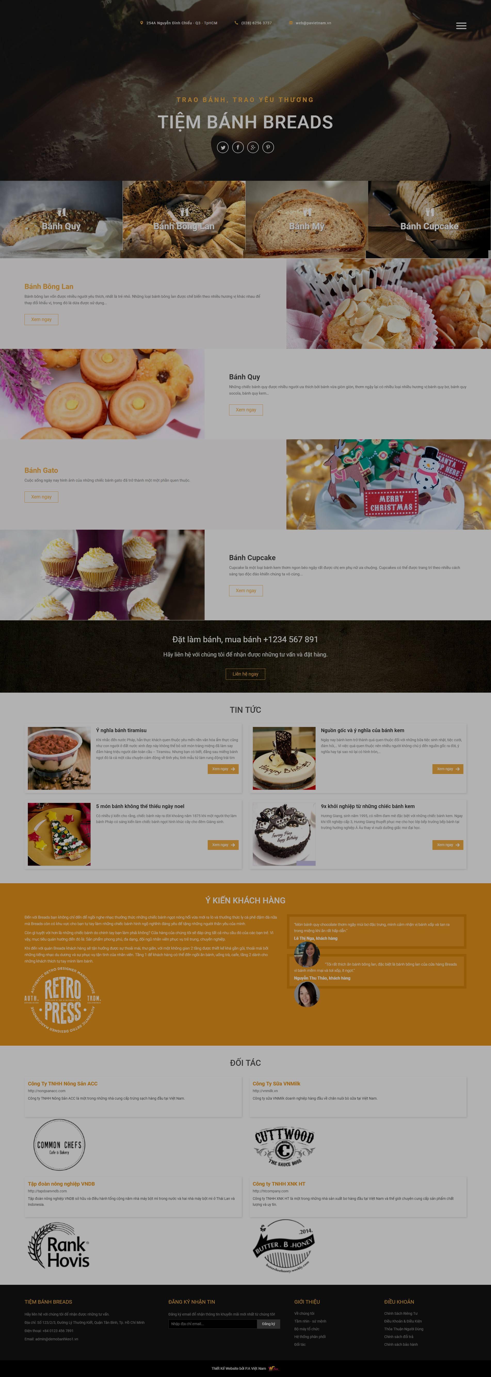 mẫu website tiệm bán bánh