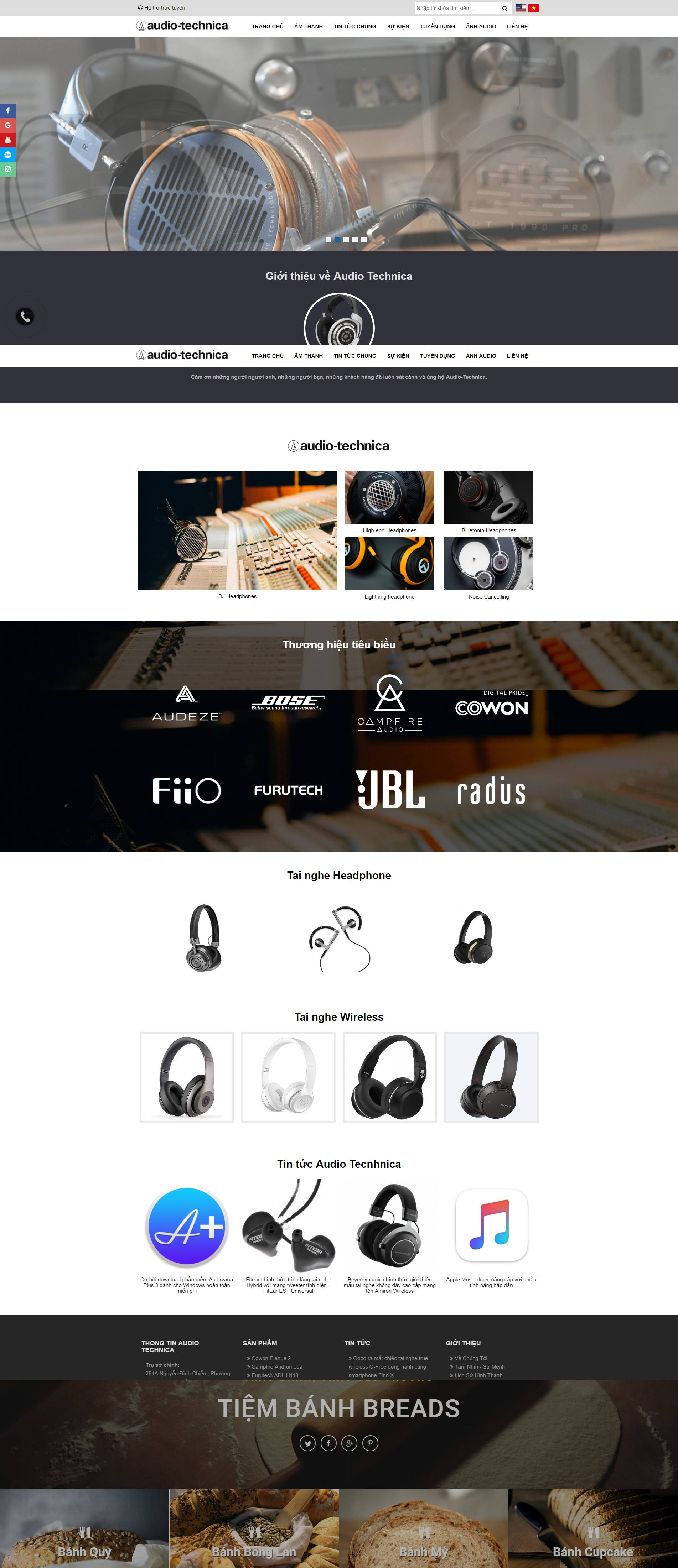 mẫu website Audio Technica