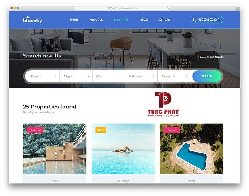Mẫu website bất động sản Free - Bluesky