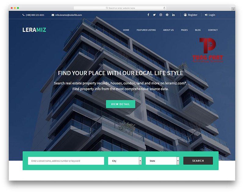 Mẫu website bất động sản miễn phí - Leramiz