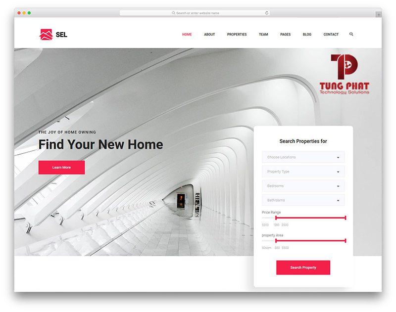 Mẫu website bất động sản miễn phí - Sel