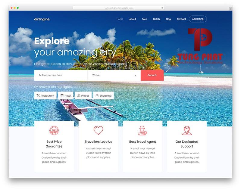 Mẫu website du lịch Direngine