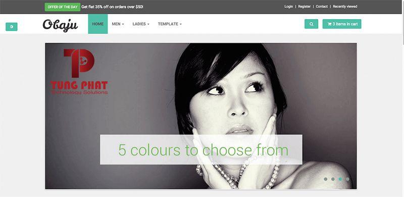 Mẫu thiết kế website thời trang Obaju