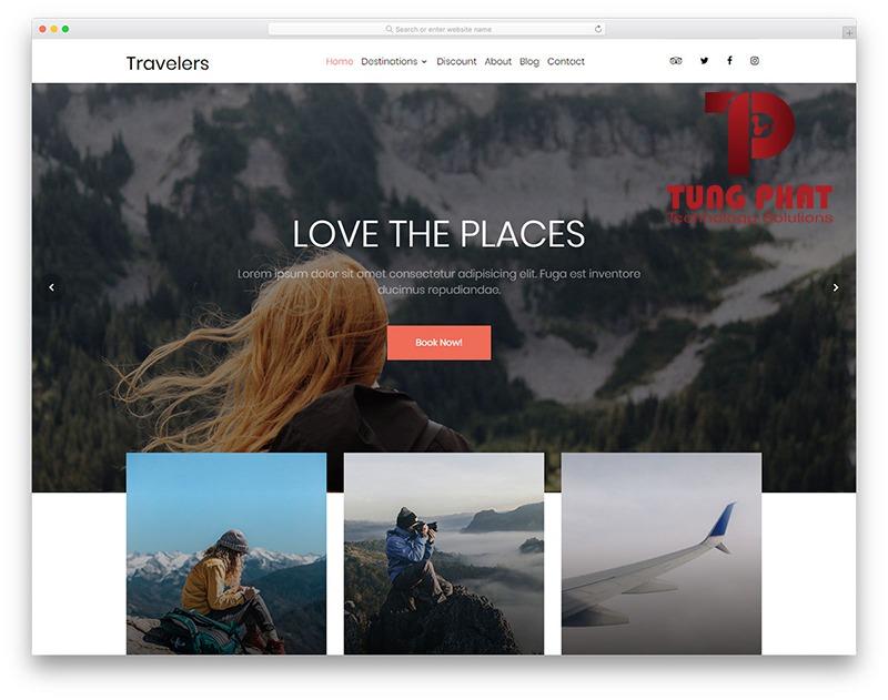 Mẫu website du lịch Travelers