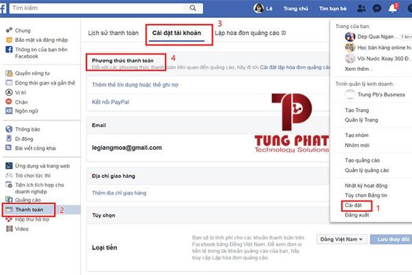 Cài đặt thanh toán quảng cáo facebook