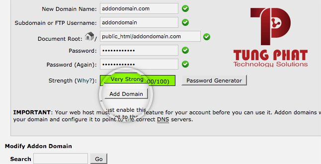 Tạo Addon Domain