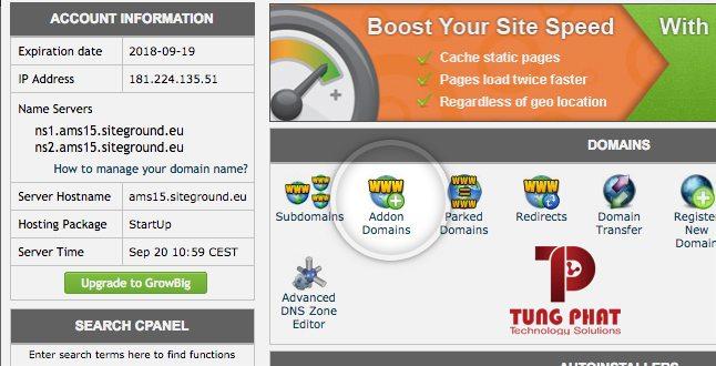 Công cụ addon Domain