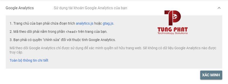 xác minh google webmaster tool bằng google analytics