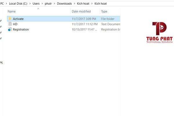 Copy toàn bộ file trong thư mục Activation vào thư mục cài đặt