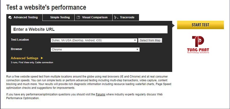 test tốc độ bằng WebPageTest
