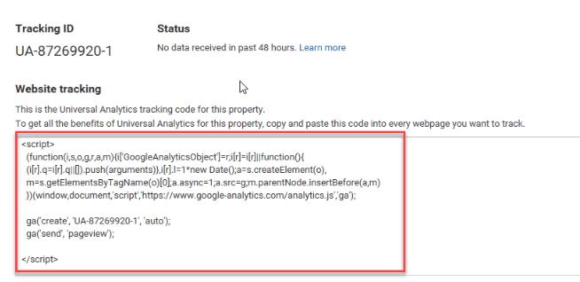 lấy mã code chèn google analytics vào website