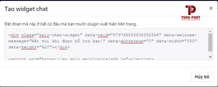 lấy mã code tích hợp zalo vào website