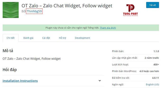 cài plugin OT Zalo chat