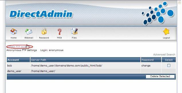 Tạo ftp trên hosting bước 2