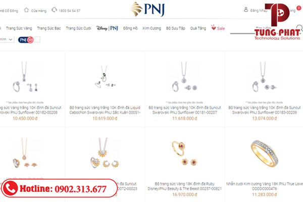 thiết kế website bán vàng