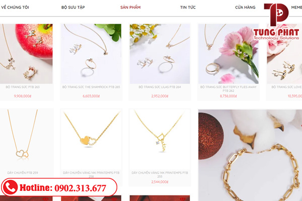 mẫu thiết kế website bán vàng