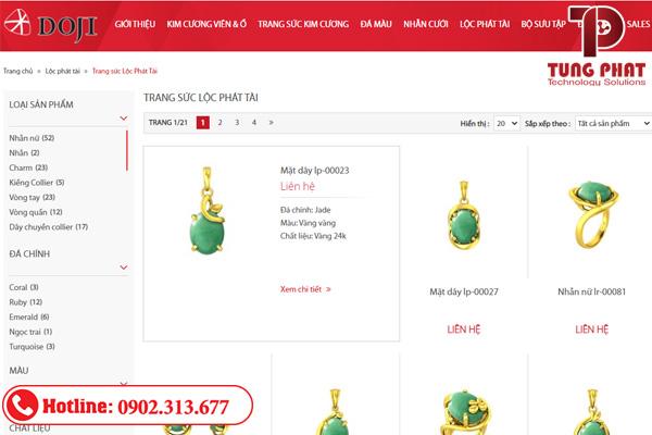 giá mẫu thiết kế website bán vàng