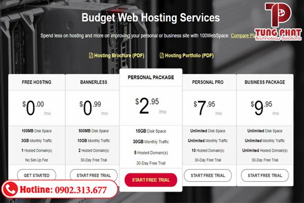 Các gói dịch vụ của 100webspace