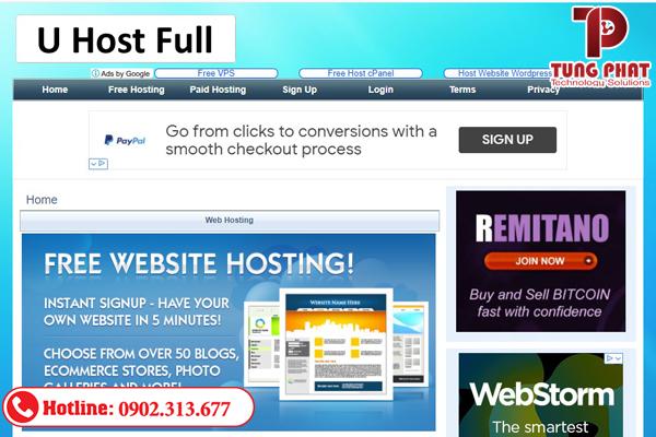 Nhà cung cấp free web hosting Uhostfull
