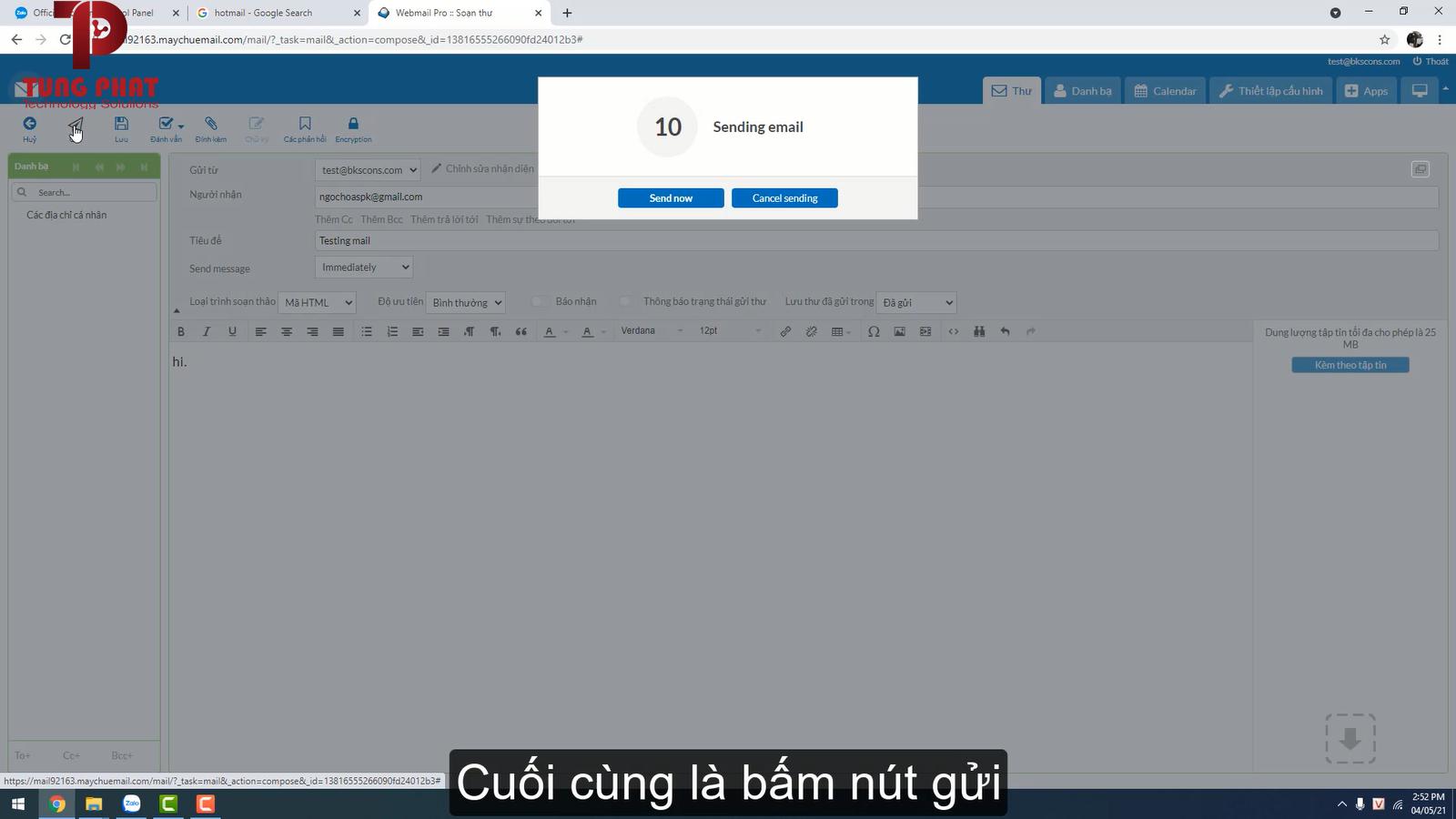 Bấm nút gửi để gửi email