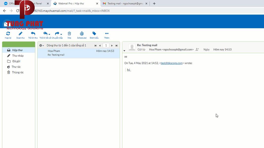 Vào phần hộp thư để xem email đã nhận